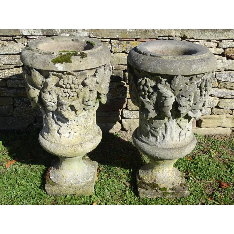 Antique Sandstone Urns (Pair)