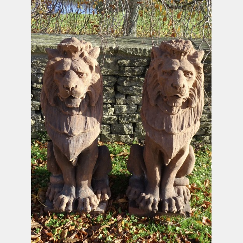 Antique Sandstone Lions (Pair)
