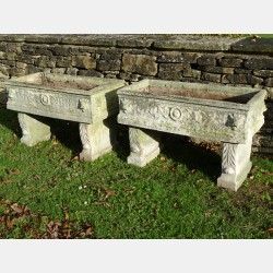 Pair Weathered Composition Stone Troughs
