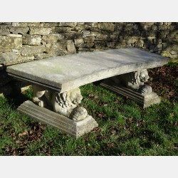 Vintage Curved Stone Bench