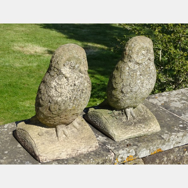 Weathered Stone Owls (Pair)