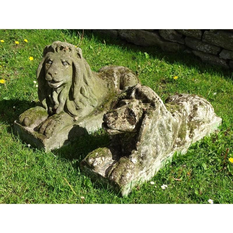 Vintage Stone Lions (Pair)