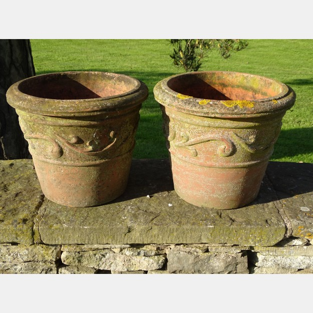 Weathered Scroll Pots (Pair)