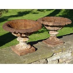 Antique Cast Iron Urns (Pair)