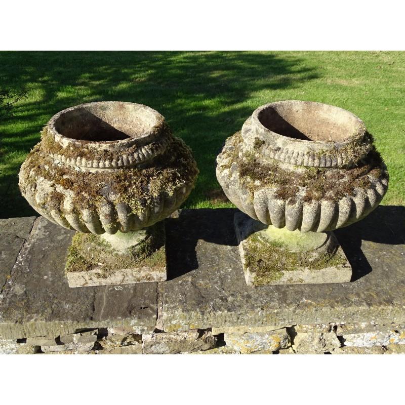 Weathered Garden Urns (Pair)