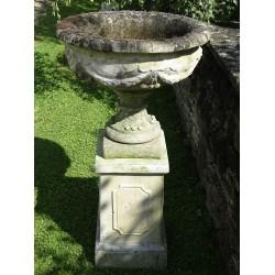 Weathered Garden Urn on Plinth
