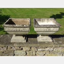 Weathered Square Urns (Pair)