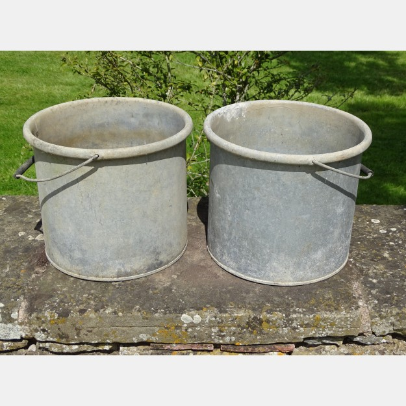 Vintage Galvanised Iron Pails (Pair)