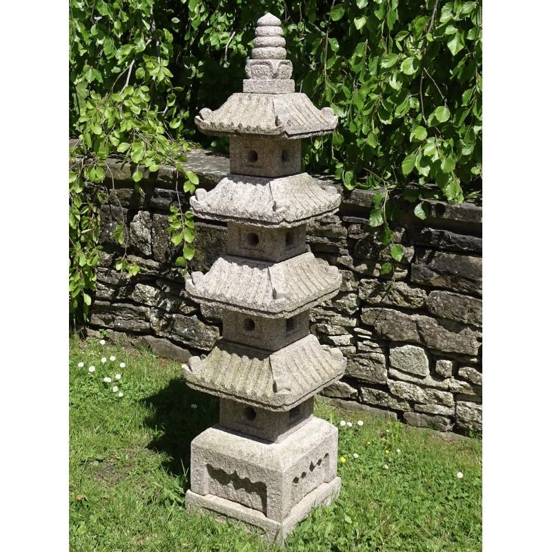 Carved Granite Garden Pagoda