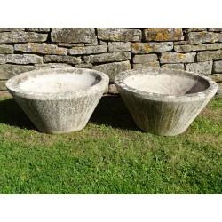 Weathered Stone Garden Planters (Pair)