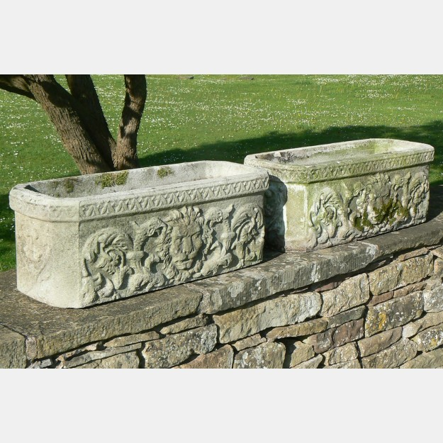 Pair Weathered Troughs