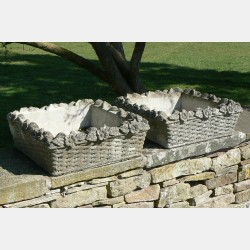Weathered Stone Planters (pair)