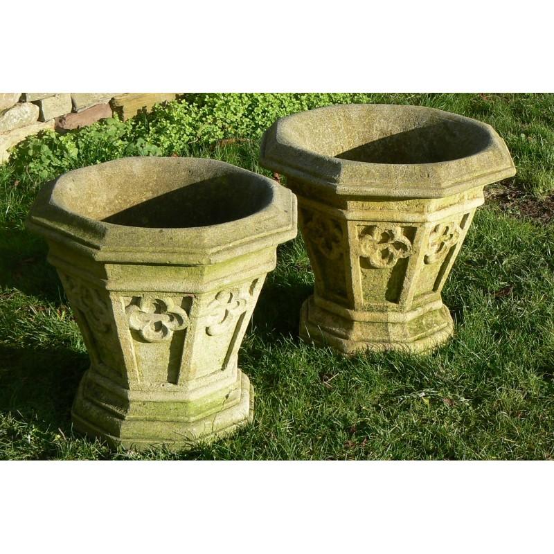 Pair Weathered Stone Planters