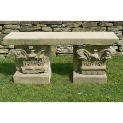 Old Stone Garden Bench