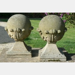 Pair Carved Stone Finials (Pair)